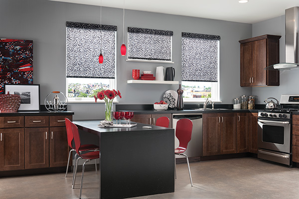 Roller Shades with Motorized Lift and Cassette Valance